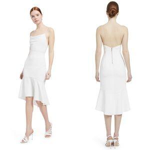 Alice+Olivia Adrina Flounce Hem Midi Dress